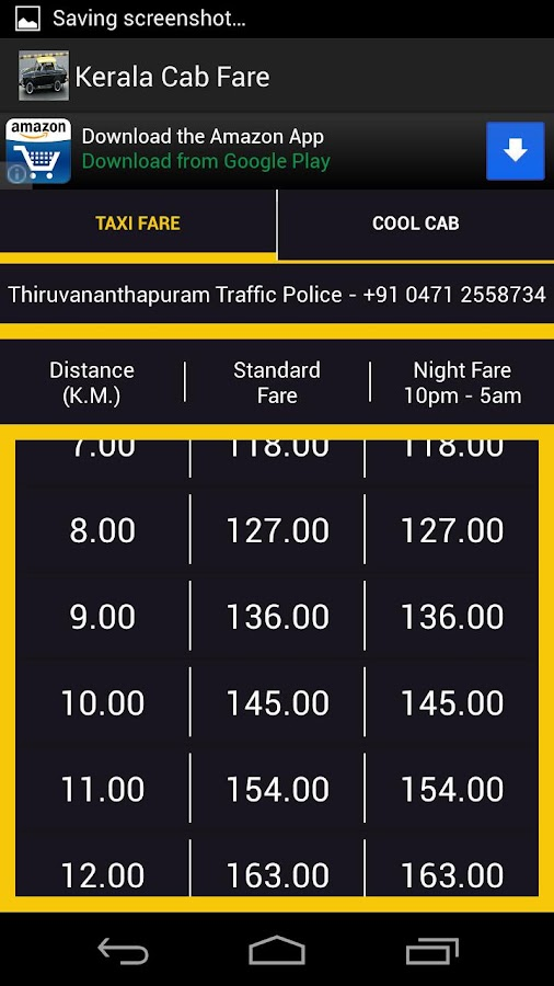 Kerala Cab Taxi Fare - screenshot