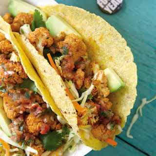 Roasted Beer and Lime Cauliflower Tacos with Cilantro Coleslaw.