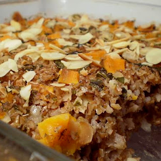 Baked Wheat Bulgur with Sweet Potatoes and Almonds.