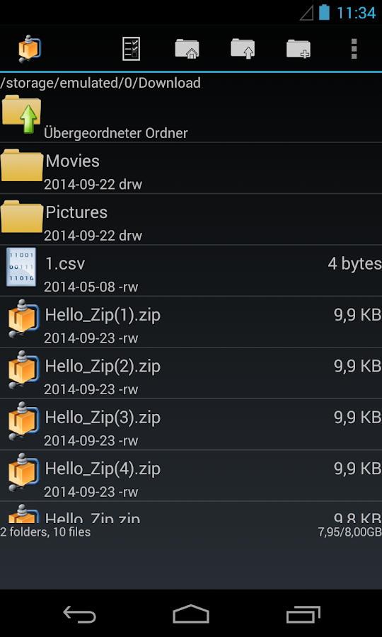 Datei-Manager AndroZip – Screenshot