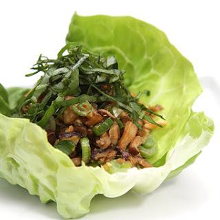 Shiitake Mushroom Lettuce Wraps With Basil Chiffonade