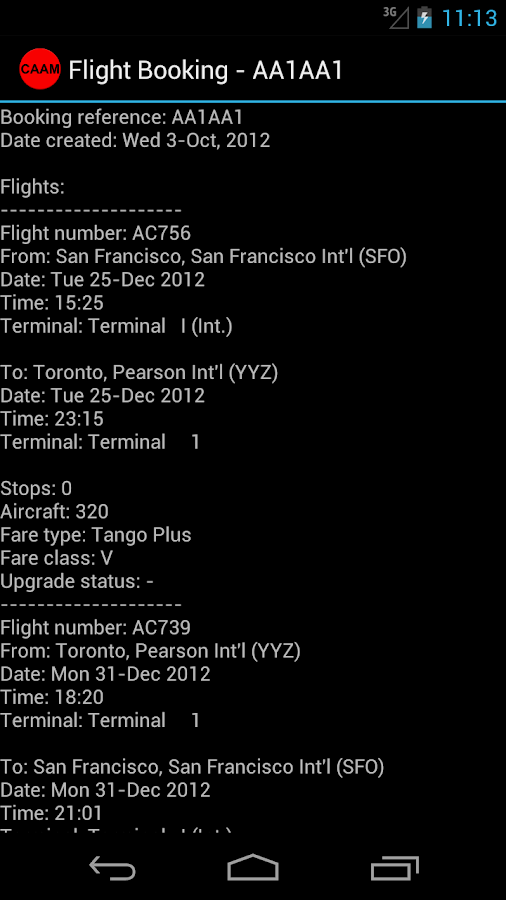 Canada Airline Account Manager - screenshot