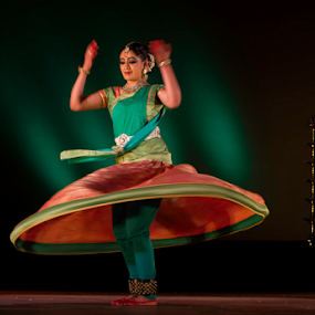 Kathak turned magical by Amitabh Mukherjee - People Musicians & Entertainers ( bangalore, kathak, classical, performance, moves, lehenga, indian, flow, turns, dance, stage )