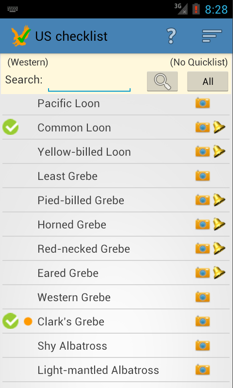 US Birding Checklist (demo) - screenshot