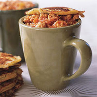 Buffalo Chicken Chili with Blue Cheese-Corn Mug Toppers.