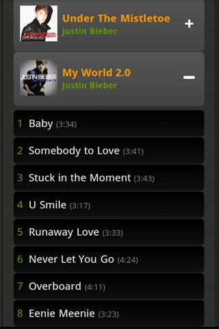 Justin Bieber Albums Songs - screenshot