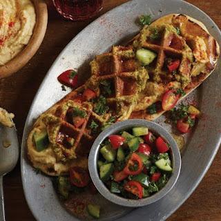 A Waffled Falafel And Hummus.