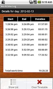 WorkTime Log screenshot 1
