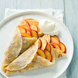 Vanilla Beans Crepes with Peaches and Cream.