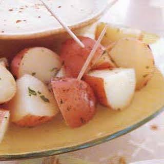 New Potatoes with Three-Cheese Fondue.