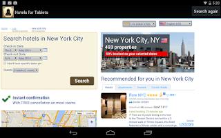 Screenshot of Hotels for Tablets