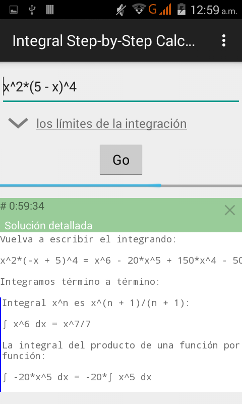 Integral Step-by-Step Calc: captura de pantalla