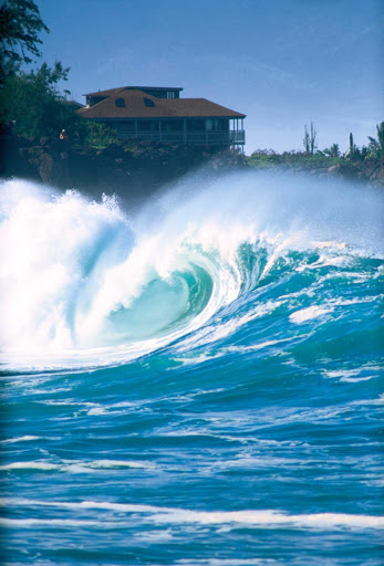 big-wave-Waimea-Bay - A big wave at Waimea Bay on the north shore of Oahu.