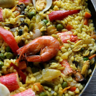 Seafood and Vegetable Paella.
