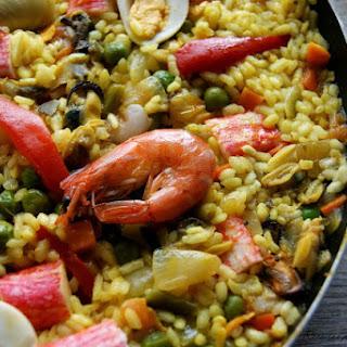 Seafood and Vegetable Paella.