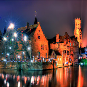 In Brugge... by Avishek Patra - City,  Street & Park  Vistas ( flanders, lights, reflection, night photography, christmas, bruges, belgium, brugge, canal, nightscape, colorful, mood factory, vibrant, happiness, January, moods, emotions, inspiration,  )