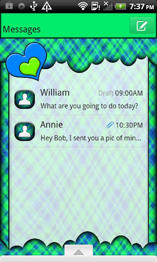 GO SMS THEME NeonPlaidCloud4