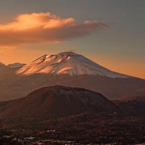 Asama by Lenny Sharp - Landscapes Mountains & Hills ( clouds, japan, sunset, karuizawa, asama )