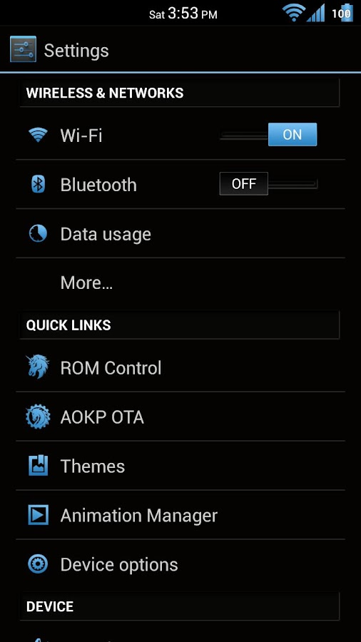 Black 'n Blue CM11/AOKP Theme - screenshot