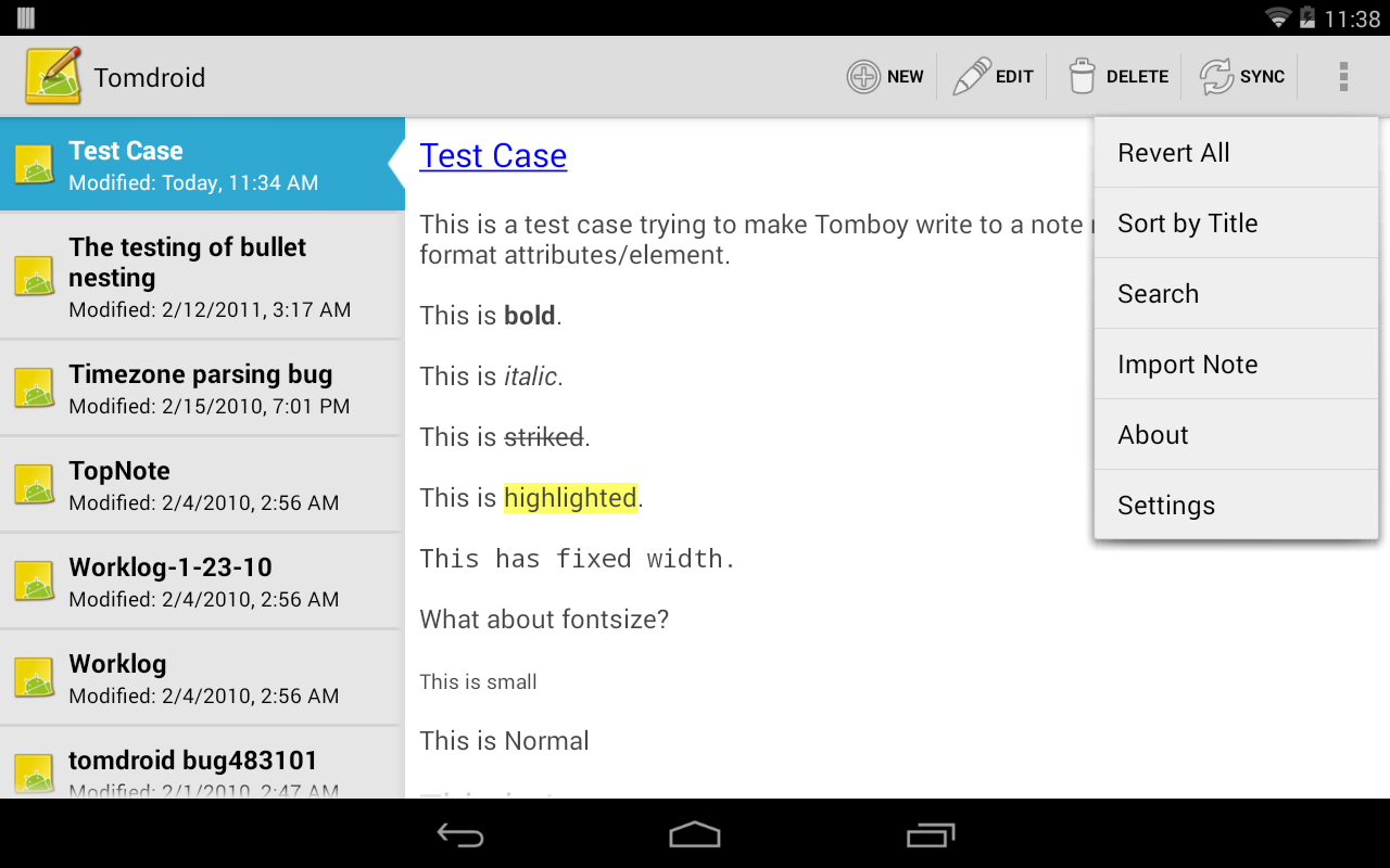 Tomdroid notes- screenshot