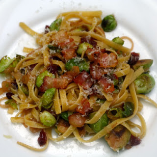 Fettuccine with Brussels Sprouts, Cranberries, and Caramelized Onions.