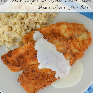 Pan Fried Tilapia with Young Living Essential Oil Lemon Cream Sauce.