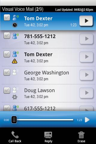 Visual Voice Mail- screenshot
