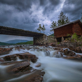 The Bridge by Daniel Herr - Landscapes Waterscapes ( trollfoss, time exposure, norway, river )
