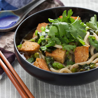Udon Noodle Soup with Chinese Broccoli & Seared Tempeh Recipe