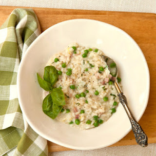 Risotto with Spring Peas, Ham, and Fontina Cheese.