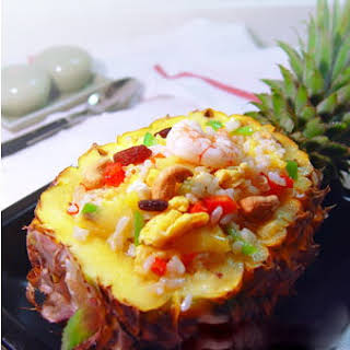 Baked Pineapple Fried Rice With Cashew Nuts.
