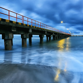 Pier at Dusk by Ina Herliana Koswara - Buildings & Architecture Bridges & Suspended Structures ( water, sunset, pier, beach, dusk )
