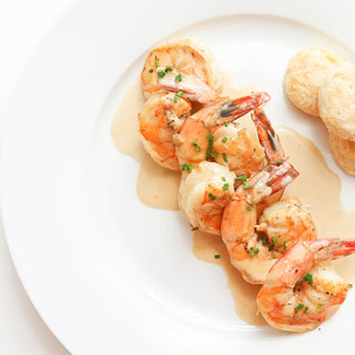 New Orleans Bbq Shrimps With Mini Rosemary Biscuits.