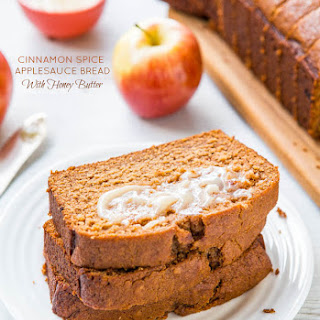 Cinnamon Spice Applesauce Bread with Honey Butter.