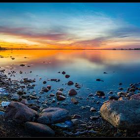 The lighthouse at the pier by Jörgen Tannerstedt - Landscapes Sunsets & Sunrises ( water, sweden, högby, sea, ocean, sun, nightscape, tannerstedt, sunset, stars, night, sunrise, öland )