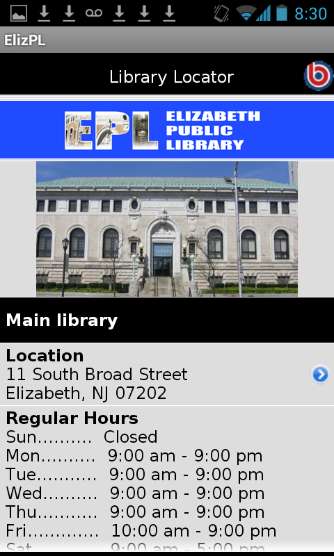 Elizabeth (NJ) Public Library- screenshot