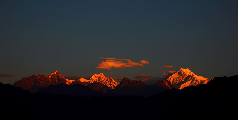 Sunrise in Mount Kanchangha by Surajit Rudra - Landscapes Mountains & Hills