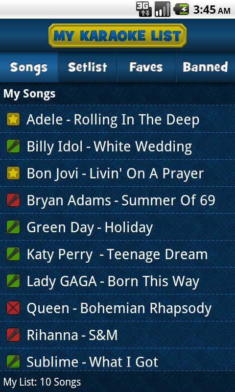 My Karaoke List - screenshot