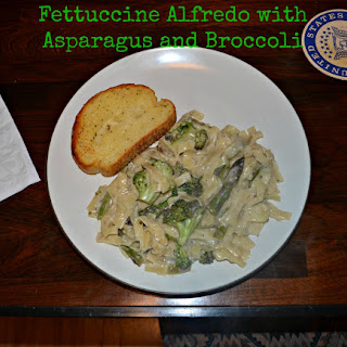 Fettuccine Alfredo with Broccoli and Asparagus.