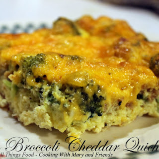 Crustless Bacon Broccoli Cheddar Quiche.