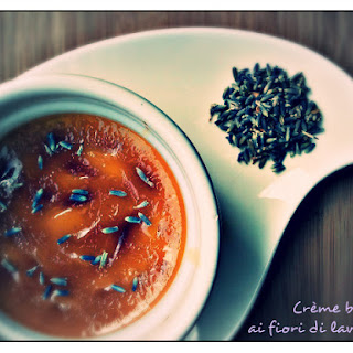 Creme Brulee with Lavender Flowers