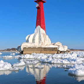 Red, White and Blue by Jeremy Church - Buildings & Architecture Public & Historical ( water, lake michigan, ice, lakes, lighthouse, kayak )