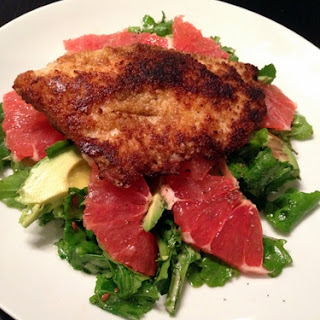 Grapefruit, Avocado, Arugula Salad with Pan Seared Fish