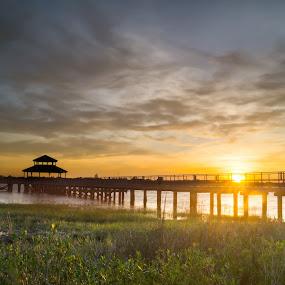 HDR Dock by Kyle Kephart - Landscapes Sunsets & Sunrises ( charleston, hdr, bay, sunset, dock, river )