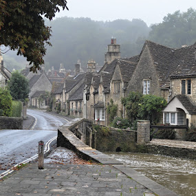 Village Life by James Booth - City,  Street & Park  Historic Districts ( wiltshire, castle combe,  )