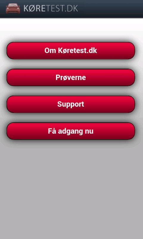 Køretest dk - teoriprøver - screenshot