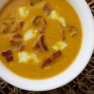 Pumpkin Soup with Bacon and Blue Cheese Recipe