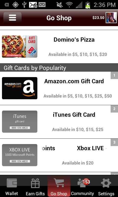 JunoWallet Earn Gift Cards NOW - screenshot