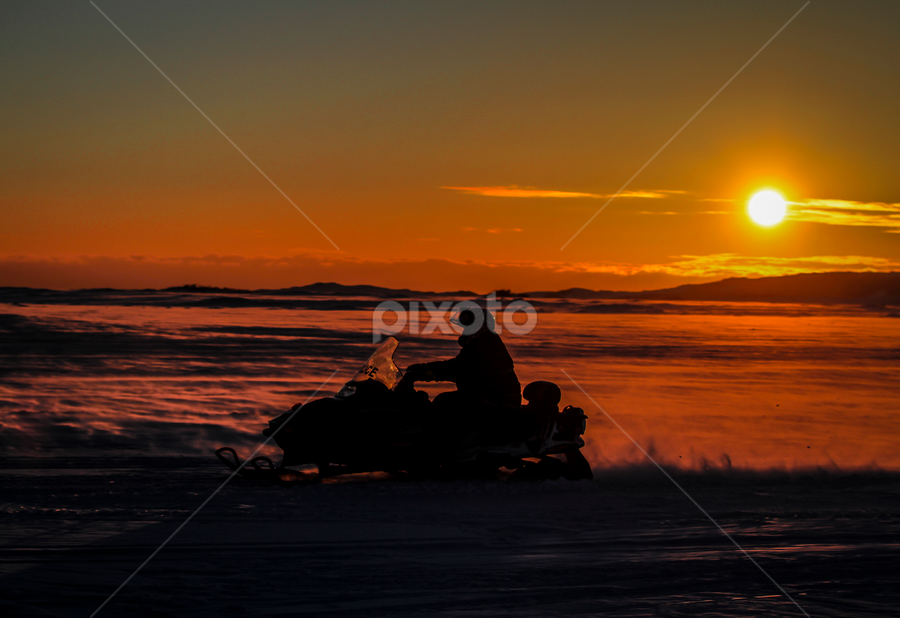 RCMP Snowmobile Patrol by Eugene Ball - Transportation Other (  )