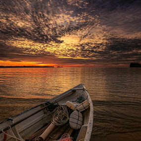 Let's Go Fishing by NC Wong - Landscapes Sunsets & Sunrises ( clouds, pasir panjang, waterscape, sunset, beach, boat )